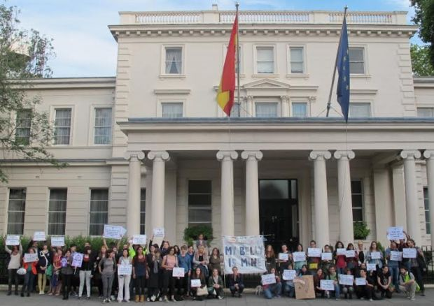 Protesting at the Spanish Embassy in London.