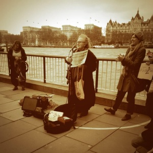 Ann Rossiter, one of the founders of IWASG, at a My Belly is Mine protest on 1 Feb, 2014.